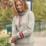 Women's Melange Fleece Striped Sleeve Hooded Pullover